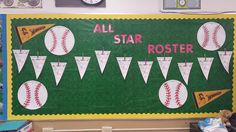 All Star Roster.baseballs made with pizza pans and then painted. Baseball Bulletin Boards, Sports Bulletin Boards, Sports Theme Classroom, Classroom Bulletin Boards, Classroom Decor, School Wide Themes, Team Theme, 4th Grade Writing, Beginning Of The School Year