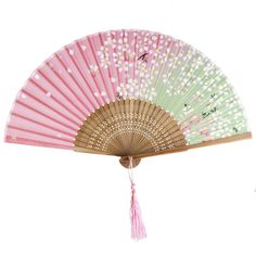 Magideal Sakura Abanico de Bambú Hecho de Mano de Color Blanco y Rosa: Amazon.es: Juguetes y juegos