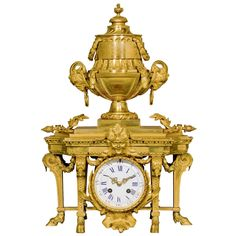 Louis XVI Style Ormolu Mantel Clock | From a unique collection of antique and modern clocks at https://www.1stdibs.com/furniture/decorative-objects/clocks/