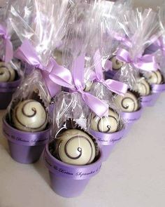 Truffle Wedding Favor. Navy blue drizzle with navy blue ribbon and a gold pot
