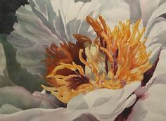 Poem Peony by Sarah Yeoman Watercolor ~ 22 x 30