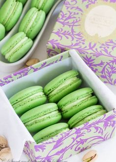 Classic Pistachio Macarons filled with Ladurée pistachio cream. Simply the best! (Including how to make homemade pistachio paste) Pistachio Macarons, Pistachio Cream, Pistachio Dessert, Just Desserts, Delicious Desserts, Macaron Filling, Cookie Recipes, Dessert Recipes, Gourmet Recipes