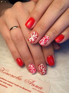 Beautiful nails, Birthday nails, Bright summer nails, Festive nails, Nails ideas 2016, Painted nails, Pattern nails, Red and white nails