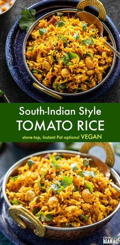 One-pot spicy South-Indian style Tomato Rice. This rice is best enjoyed with a side of yogurt & pickle! Vegan & gluten-free! #indian #onepot #vegan