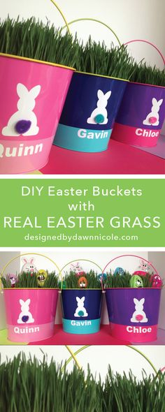 DIY Personalized Easter Buckets {with real grass!} | bydawnnicole.com