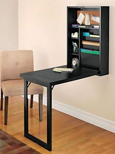 Instantly create a home office with our Fold-Out Convertible Desk | Solutions.com #Home #Office #Decor