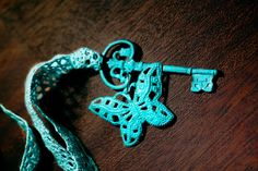 Turquoise Butterfly & Key Necklace