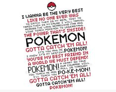 This listing is for an instant download of a .pdf cross stitch pattern featuring the full lyrics to the original Pokemon Theme song from Indigo