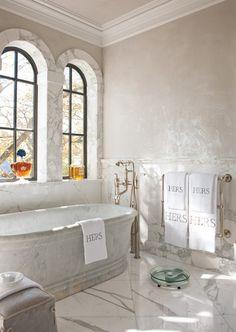 Betty Lou Phillips - bathrooms - french bathroom, french master bath, french master bathroom, arched windows, marble bathtub, freestanding b...
