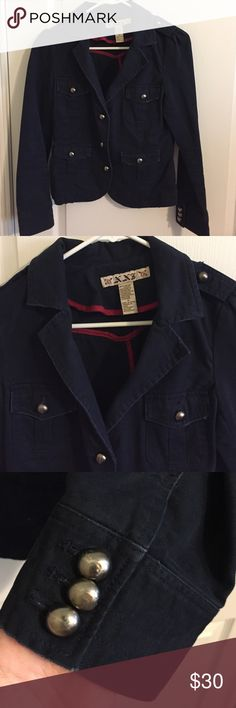Navy blue distressed army jacket Navy blue distressed army jacket. Buttons with some wear. Distressed look to the jacket. Forever 21 Jackets & Coats