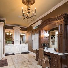 Gallery featuring pictures of approachable luxury in Oxford Lane home design, showcasing a richly styled home in the suburbs of Chicago. Serene Bathroom, Brown Bathroom, Beautiful Bathrooms, Master Bathroom, Light Grey Walls, Brown Walls, Traditional Bathroom, Traditional House, Traditional Interior