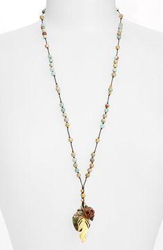 Women's Chan Luu Cluster Pendant Beaded Cord Necklace - Aqua Terra