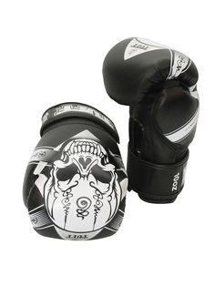 Skull Fancy Boxing Gloves (Black) by Tuff on Guruwan.com | TUFF Black Skull Fancy Boxing GlovesLight weight gloves that are suitable for pads, bags and sparringWith durable velcro wrist closureMaterial: High grade authentic leather