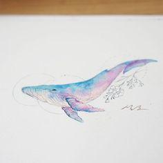 푸른 자줏빛 고래와 들꽃 Blue magenta whale and wild flower #고래타투 #라인타투 #타투 #타투디자인 #아로새기다타투 #아낙림 #수채화타투 #watercolortattoo #whaletattoo #linetattoo #watercolor #tattoodesign #artwork #tattooist_silo