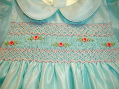 New boutique design hand embroidered smocked dress - Size 6m 12m 18m  24m  2  Aqua Blue