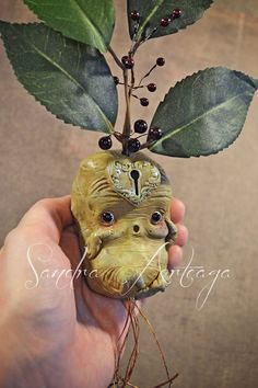 Gubbo Lulo - art doll sculpt ooak fantasy fairy tale creature magical botanical roots mandrake eggplant mascot flower green yellow