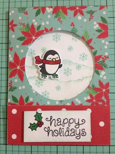 Christmas Card using Lawn Fawn Winter Penguin