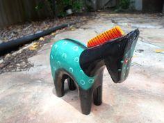 Hand Painted  Mexican Flok Art Wooden Horse