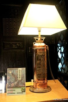 Vintage lamp with Fire Extinguisher.