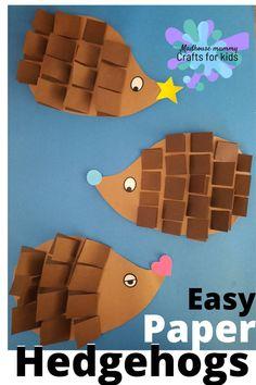 Spiky paper hedgehogs, fun autumn craft for kids. | Fall Crafts for Kids | Animal Crafts for Kids Green Crafts For Kids, Fall Arts And Crafts, Animal Crafts For Kids, Paper Crafts For Kids, Animals For Kids, Preschool Crafts, Art For Kids, Craft Kids, Preschool Kindergarten