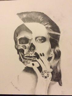 Half Skull, Half Face Drawing