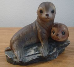 Vintage Baby Seals Porcelain Figurine 1981 Homco Sea Lion Pups