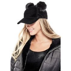 4a9f45d5619 GUESS Kiana Faux-Fur Pom Baseball Hat ( 34) ❤ liked on Polyvore featuring  accessories