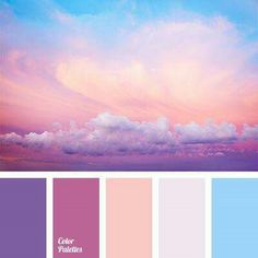 Pastel shades including lavender, pink, blue, muted gray-blue created a gentle spring palette. This palette can be used to create a romantic and feminine l Scheme Color, Colour Pallette, Color Palate, Colour Schemes, Color Combos, Sunset Color Palette, Bright Colour Palette, Bright Paint Colors, Purple Palette
