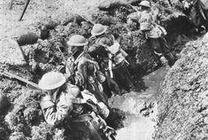 British infantry knee deep in mud Passchendeale WWI.