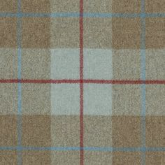 Iona Wool Plaid Wool plaid in Beige and duck egg with a box check in Red and light blue.