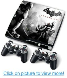 Skin Sticker for Ps3 Playstation 3 Slim and 2 Consoles Batman Arkham City
