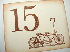 Items similar to Tandem Bicycle Wedding Table Numbers Rustic Vintage Style Bike Number Cards on Etsy Bicycle Wedding, Tandem Bicycle, Vintage Fashion, Vintage Style, Wedding Table Numbers, Fairy Tales, Dream Wedding, Invitations, Rustic