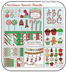 60 Percent Off! Christmas Clip Art Candy, Cupcakes, Cookies, Scrapbook Kit, Digital Clipart, Cards,   Instant Download  #scrapbooking #christmas #cheer #digital #digiscrapdelights