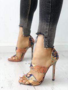 Peacock Feather Print Heel Sandals