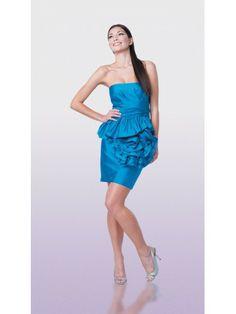 Taffeta Strapless Ruched Designs Cocktail Dress