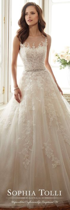 Sleeveless Misty Tulle Full A-Line Gown – Sophia Tolli Wedding Dress by Sophia Tolli Spring 2017 Bridal Collection Weeding Dress, Dream Wedding Dresses, Bridal Dresses, Wedding Dress Styles, Bridesmaid Dresses, Bridesmaid Ideas, 2018 Wedding Dresses Trends, Lace Dresses, Sleeveless Wedding Dresses