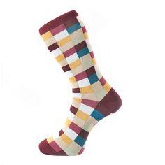Burgandy Check Socks by Fortis Green