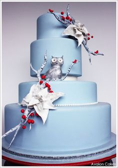 A gorgeous winter cake design featuring a glittering owl, natural birch branches, red cardinals, sparkling poinsettias and holly. Created by Avalon Cakes. Pretty Cakes, Beautiful Cakes, Amazing Cakes, Owl Cakes, Cupcake Cakes, Cupcakes, Fondant, Cake Blog, Just Cakes