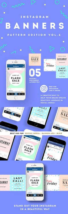 5 Instagram Banners / Social Media Banner Templates - Pattern Edition Vol.6