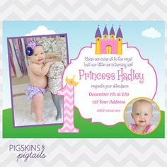 Princess First Birthday Invitations  Digital by PigskinsPigtails, $16.00