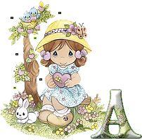Alfabeto nena con conejito Precious Moments.