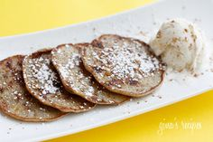 Low Fat Banana Fritters Recipe Desserts, Breakfast and Brunch with bananas, sugar, large eggs, flour, vanilla extract, flavoring, cinnamon, powdered sugar
