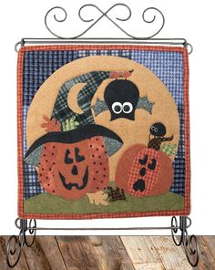 "October Bat Surprise- Little Quilts Squared pattern by The Wooden Bear.  Pattern includes instructions for making a 12"" square quilt, or you can add the letter blocks and even an attachable quilted calendar holder.  On our website, you can print FREE monthly or weekly calendar pages that match the monthly quilt to use in the calendar holder."