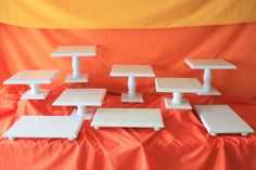 Wedding Dessert Bar Set 9 piece square white cake stand by Adaura, $185.00
