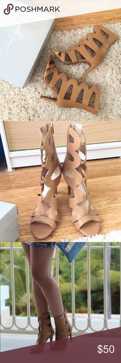 Jessica Simpson Heels Super adorable, used only once, cut out heels. Beige leather Jessica Simpson Shoes Heels