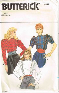 Victorian Styled Blouse High Neckline Steampunk Butterick 4552 Sewing Pattern by PeoplePackages