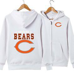 9bdebf526 HOT Men s Chicago Bears Sweatshirt Warm Sporty Hoodie full zip up jacket  coat