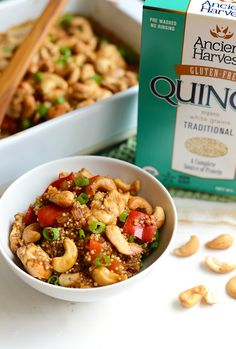 """Make this Cashew Chicken Quinoa Bake for a high-protein, one-dish meal that the whole family will love! Meal prep at its finest! Considering the fact that it's """"late August"""" I to…"""