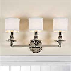 Springfield Linen Shade Bath Light - 3 Light - Shades of Light Bathroom Light Fixtures, Bathroom Vanity Lighting, Vanity Light Bar, My Home Design, Chandelier Shades, Lamp Shades, Bath Light, Bath Vanities, Drum Shade