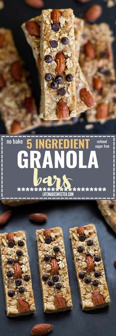 No Bake 5 Ingredient Granola Bars make the perfect easy grab & go snack. Best of all, they're healthy and come together easily in just ONE pot! Gluten free, refined sugar free and super delicious! They make amazing snacks to refuel up after a workout to refuel!